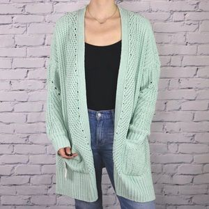NWT mint green knit open front long cardigan b3